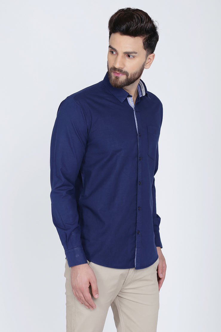 Navy Blue Cotton Plain Long Sleeves Slim Fit Shirt