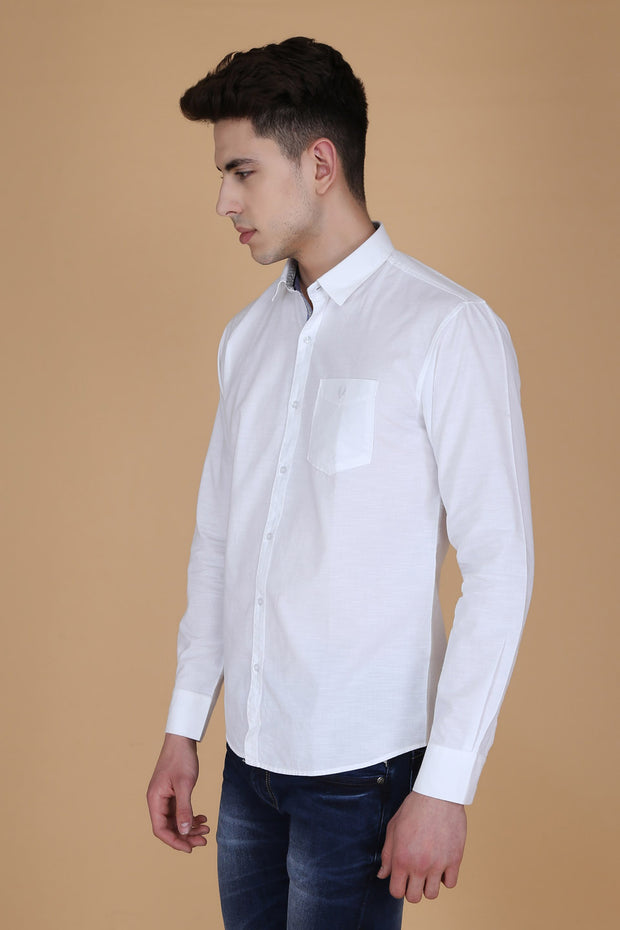 White Cotton Plain Long Sleeves Slim Fit Shirt