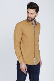 Dark Beige Cotton Plain Long Sleeves Slim Fit Shirt