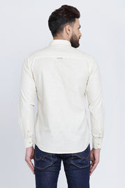 Cream Cotton Plain Long Sleeves Slim Fit Shirt
