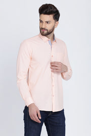 Light Pink Cotton Plain Long Sleeves Slim Fit Shirt