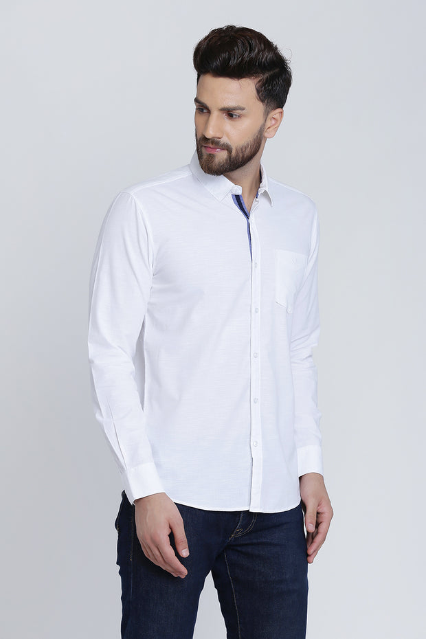 White Cotton Plain Full Sleeves Slim Fit Shirt