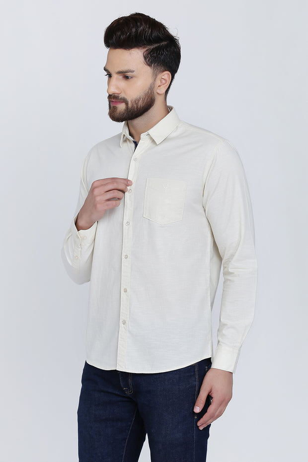 Off-White Cotton Plain Full Sleeves Slim Fit Shirt