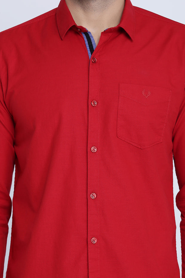 Red Cotton Plain Full Sleeves Slim Fit Shirt