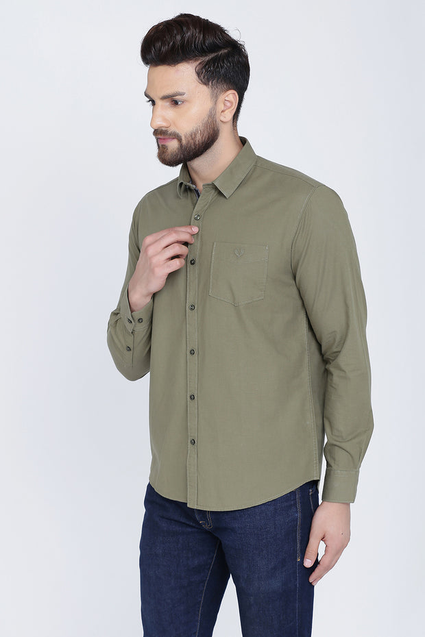 Olive Cotton Plain Full Sleeves Slim Fit Shirt
