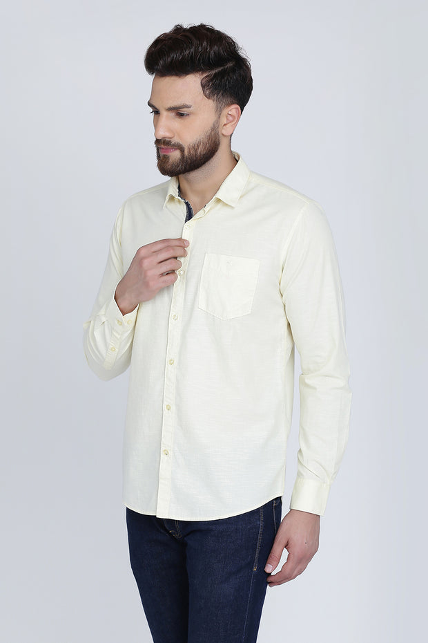 Light Yellow Cotton Plain Full Sleeves Slim Fit Shirt
