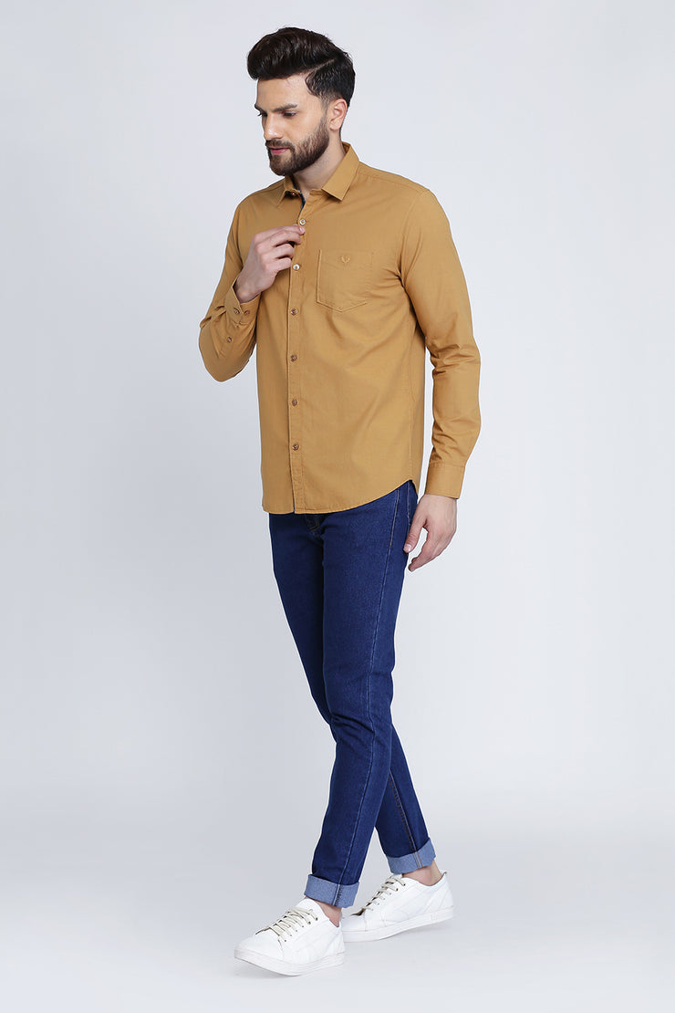 Tan Cotton Plain Full Sleeves Slim Fit Shirt