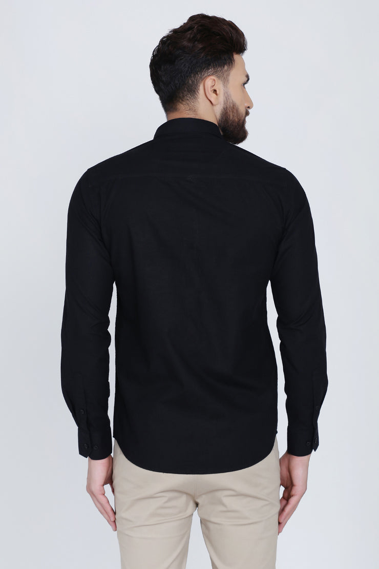 Black Cotton Plain Full Sleeves Slim Fit Shirt