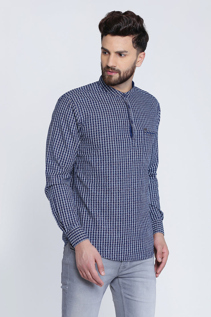 Navy Blue and Pink Cotton Checks Casual Full Sleeves Shirt