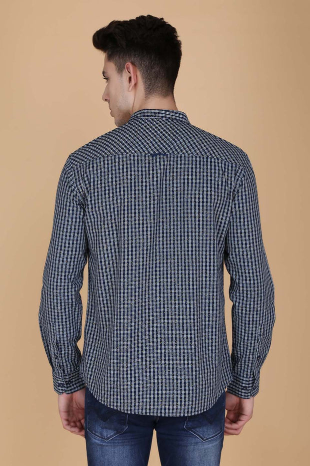 Navy Blue and Yellow Cotton Checks Casual Full Sleeves Shirt