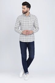 White Cotton Checks Print Spread Collar Slim Fit Shirt