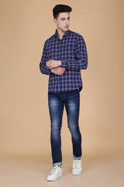 Navy Blue Cotton Checks Print Spread Collar Slim Fit Shirt
