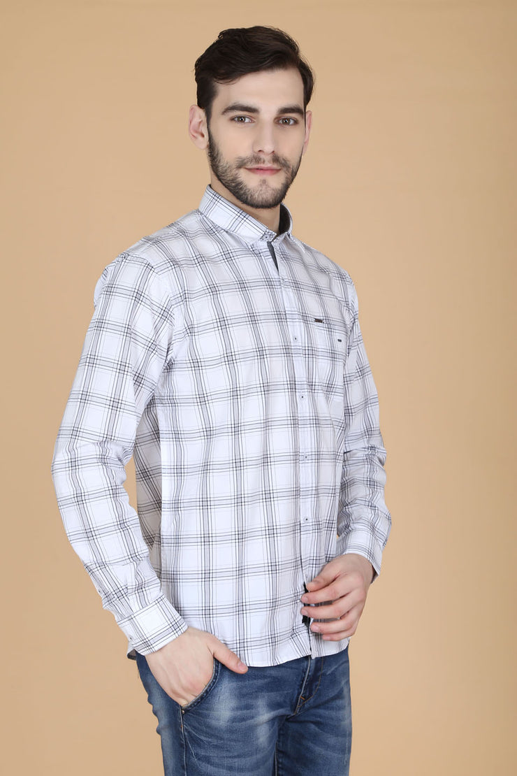 White Cotton Plaids Slim Fit Pointed Collar Shirt