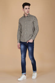 Cream Cotton Plaids Slim Fit Pointed Collar Shirt