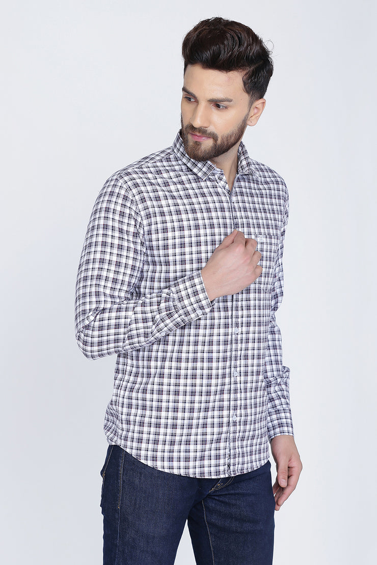 White Cotton Plaids Slim Fit Long Sleeves Shirt