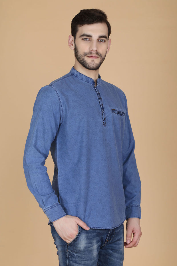 Blue Cotton Plain Mandarin Collar Slim Fit Shirt
