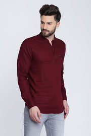 Solid Maroon Cotton Slim Fit Mandarin Collar Shirt