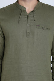 Solid Olive Cotton Slim Fit Mandarin Collar Shirt