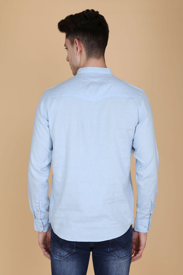 Solid Light Blue Cotton Slim Fit Mandarin Collar Shirt