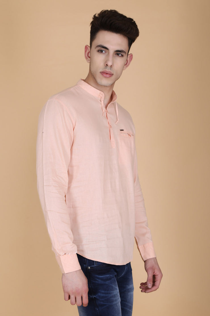 Solid Light Orange Cotton Slim Fit Mandarin Collar Shirt