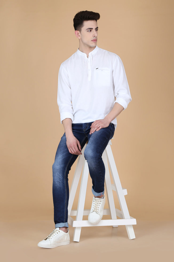 Solid White Cotton Slim Fit Mandarin Collar Shirt
