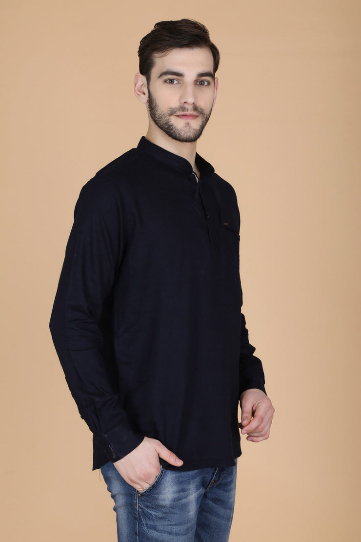 Solid Black Cotton Slim Fit Mandarin Collar Shirt