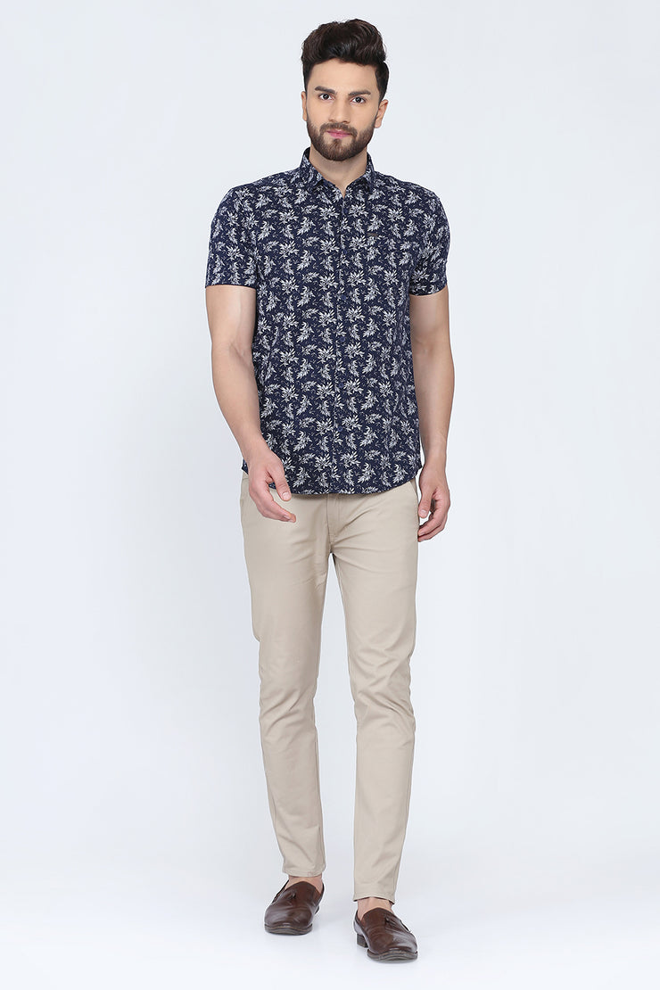 Navy Blue Cotton Leaf Print Slim Fit Casual Shirt