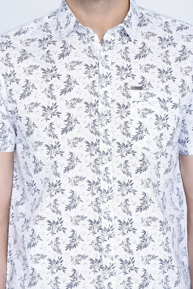 White Cotton Leaf Print Slim Fit Casual Shirt