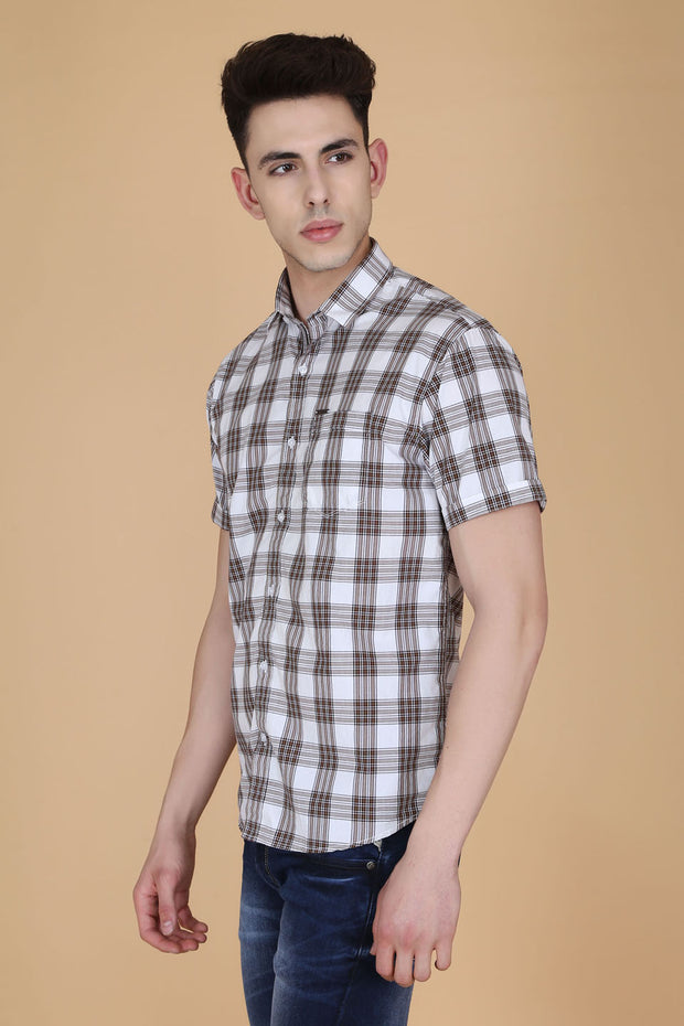White Cotton Plaids Slim Fit Casual Shirt