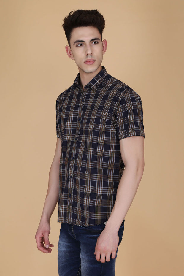Navy Blue Cotton Plaids Slim Fit Half Sleeves Shirt