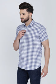Blue Cotton Checks Half Sleeves Slim Fit Shirt