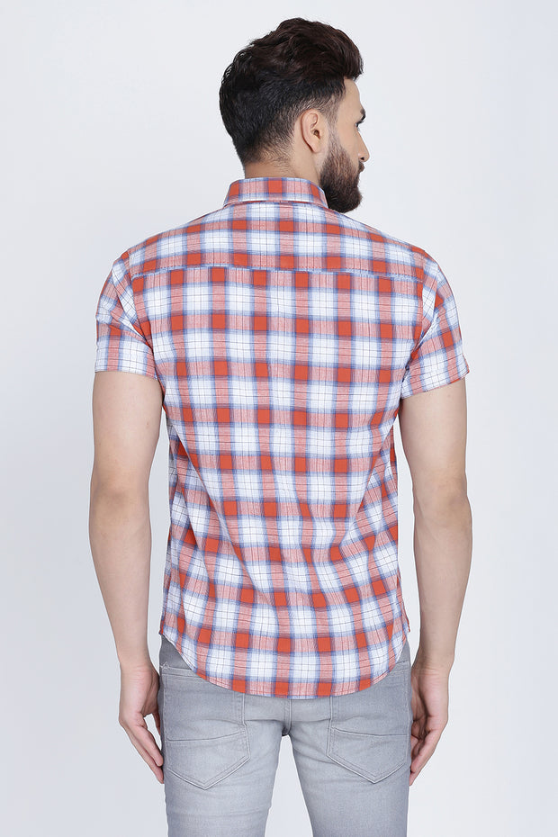 Orange Cotton Checks Half Sleeves Slim Fit Shirt