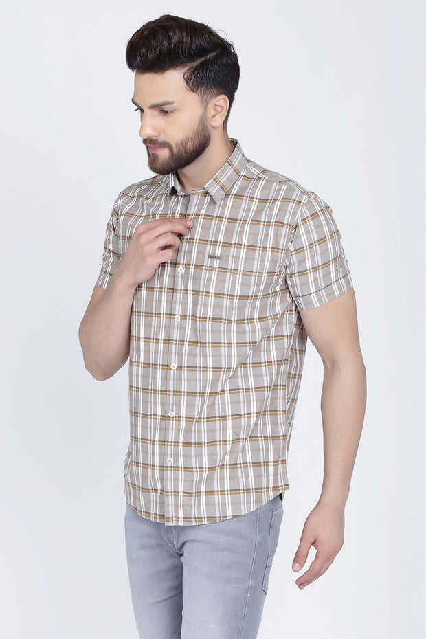 Grey Cotton Checks Slim Fit Half Sleeves Shirt