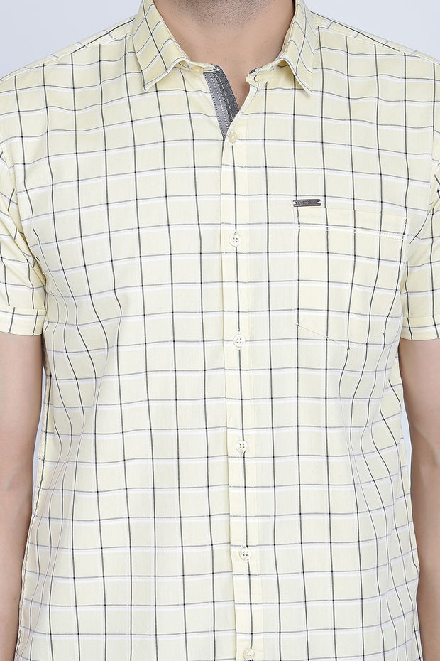 Yellow Cotton Window Checks Print Slim Fit Shirt