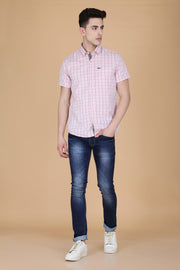 Pink Cotton Window Checks Print Slim Fit Shirt