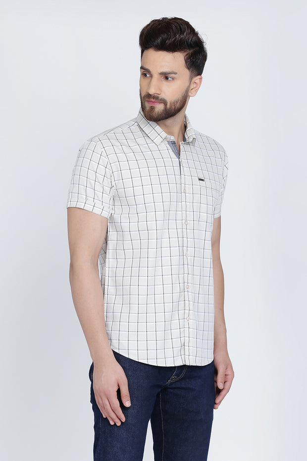 Cream Cotton Window Checks Print Slim Fit Shirt