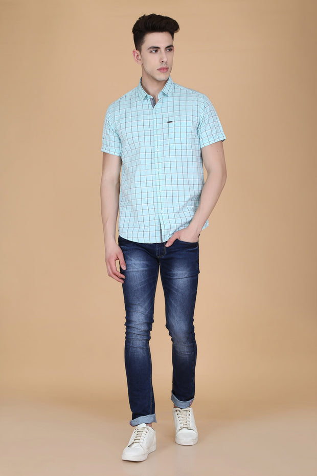 Blue Cotton Window Checks Print Slim Fit Shirt