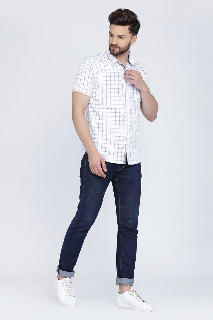 White Cotton Window Checks Print Slim Fit Shirt