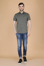 Olive Cotton Printed Slim Fit Casual Shirt