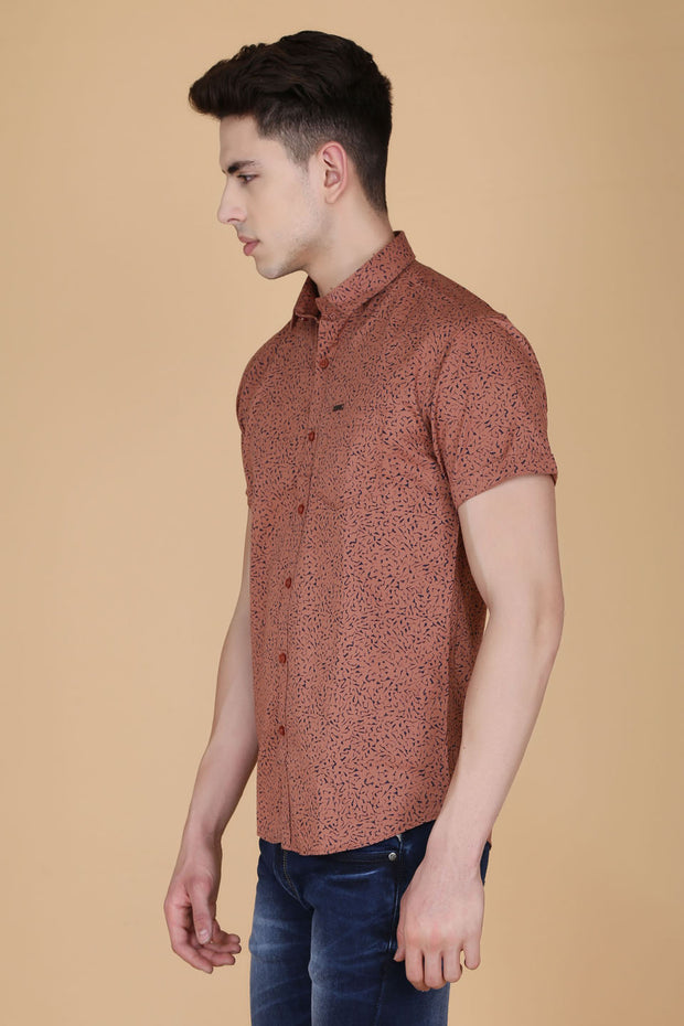 Brown Cotton Printed Slim Fit Casual Shirt