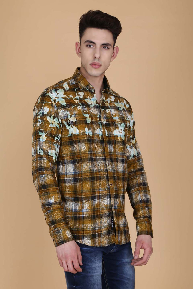 Mustard Cotton Print Slim Fit Casual Shirt