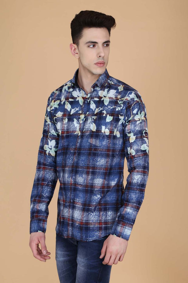 Navy Blue Cotton Print Slim Fit Casual Shirt
