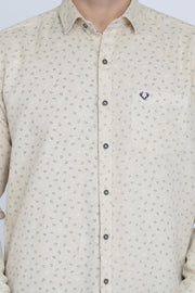 Beige Cotton Print Smart Fit Casual Shirt