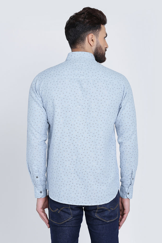 Grey Cotton Print Smart Fit Casual Shirt