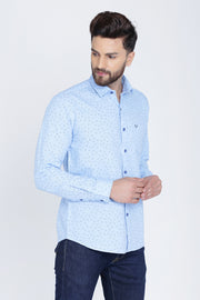 Blue Cotton Print Smart Fit Casual Shirt
