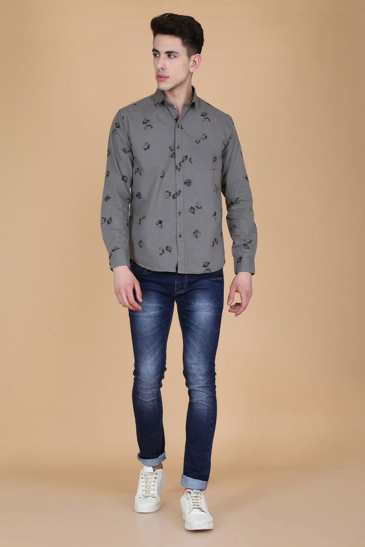Light Grey Cotton Print Slim Fit Shirt