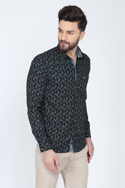 Black Cotton Leaf Print Smart Fit Casual Shirt