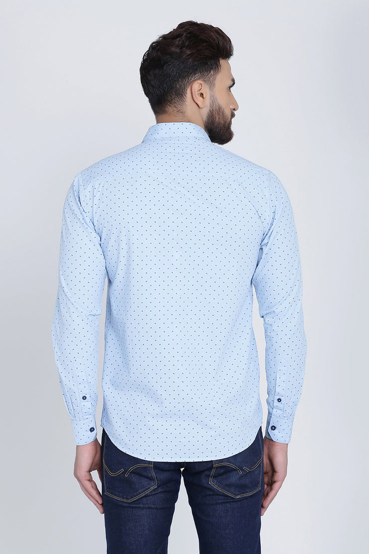 Light Blue Cotton Print Spread Slim Fit Shirt