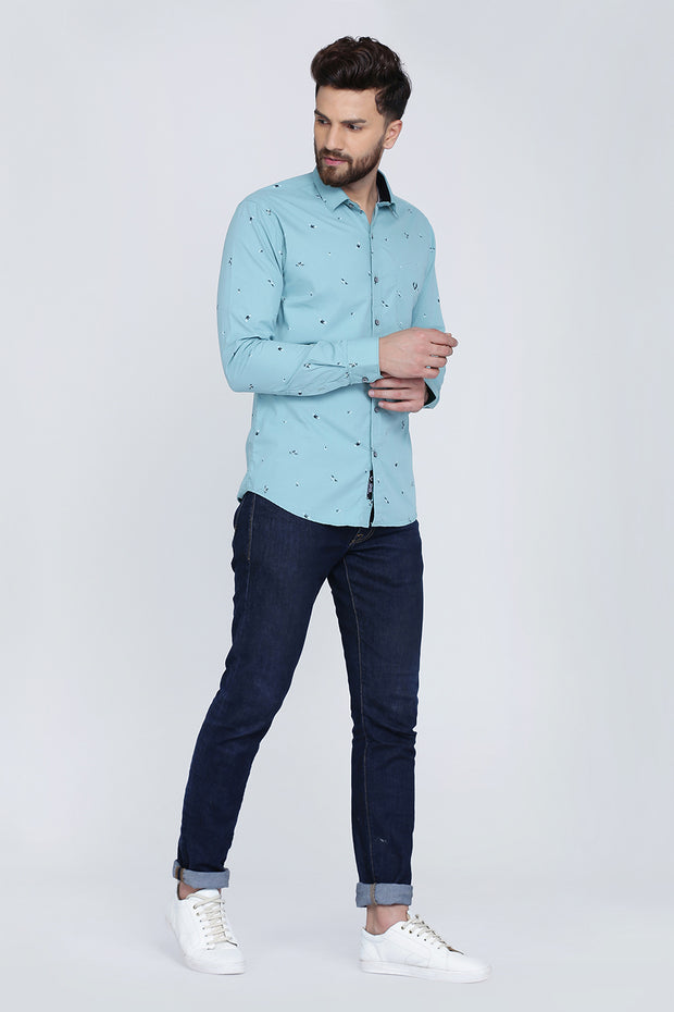 Turquoise Cotton Print Slim Fit Casual Shirt