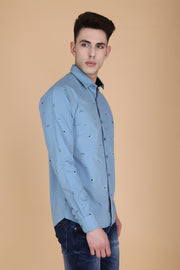 Blue Grey Cotton Print Casual Shirt